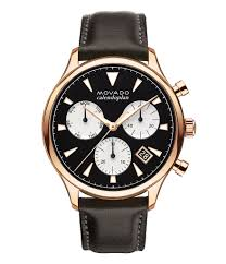 movado heritage series calendoplan chronograph brown leather watch dillard s