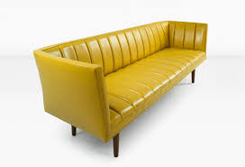 yellow leather couch plush design style striped rectangular shape comfortable to sit three people