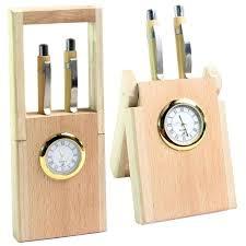 pen holders for desk pen holder stand clock in wooden finishing table desk clock