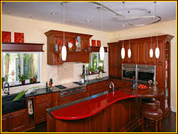 Kitchen Island Red Accent Bar Table With Brown Simple Stools
