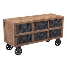 industrial furniture wheels. Industrial Cabinet On Wheels With Drawers Natural_pine_industrial_gray Furniture A