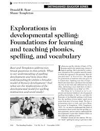 Pdf Explorations In Developmental Spelling Foundations For