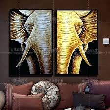thai wall art decor golden elephant zen room decoration style oil painting on canvas art for
