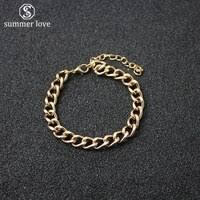 fashion gold color cuban link bracelet curb chain bracelet men women hippie hip hop jewelry whole party gifts