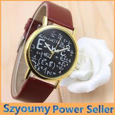 2016 luxury einstein e mc2 equation mathematical formula math symbols faux leather og quartz watch watch wrisch unique watches black watches from