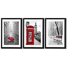 framed wall art for office. Black White And Red Wall Art Print Posters Eiffel Tower Decor Big Ben Picture Framed For Office E