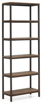 ... Civic Bookshelf Modern Metal And Wood Bookcase Dark Brown Color Five  Empty Shelves With Tall Style ...