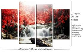 red autumn forest waterfall canvas wall