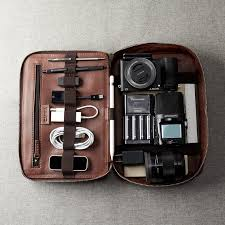 brown leather travel tech organizer men ipad case image 0