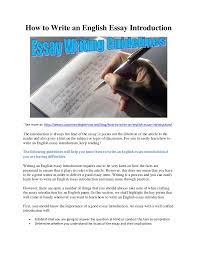 how to write an english essay introduction