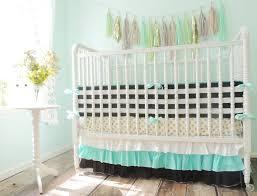aqua black white and gold crib bedding