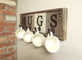 barn wood mug rack wall mount cup