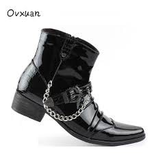 patent leather metal buckle rivet iron chain pointed toe platform