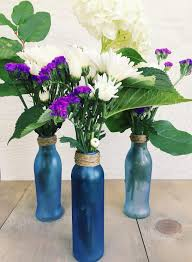diy upcycled sea glass flower vases