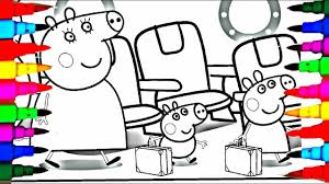 Coloring Book Peppa Pig And Family On Holiday Trip Coloring Pages