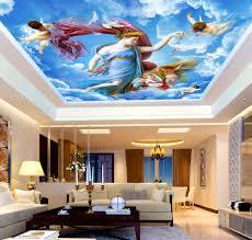 3d Ceiling Design Wallpaper Us 9 28 42 Off Large Sky Ceiling Mural European 3d Ceilings Mural Wallpaper For Walls Living Room 3d Angel Ceiling Murals 3d Wall Paper Sticker In