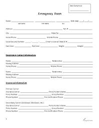 Employee Emergency Contact Information Template Employee Contact Form Template Word Emergency Information