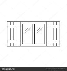 Schwarzen Weiße Darstellung Der Alten Fenster Rollladen Vektor
