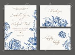 Vintage Wedding Invitation Vintage Wedding Set With Spring Flowers In Blue Wedding Invitation