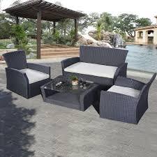 goplus 4pcs outdoor patio furniture set wicker garden lawn sofa rattan 6952938332712