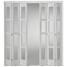 internal white fully finished shaker folding sliding door set with clear glass