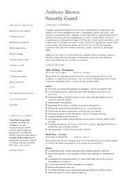 How To Write Professional Summary For Resume Entry Level Security Guard  Word Doc 10 Security Guard ...