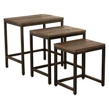 nesting furniture. Castille Nesting Tables Set Of Three Metal Textured Black/Distressed Walnut - Hillsdale Furniture B