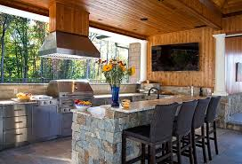 luxury outdoor kitchens fireplaces pictures