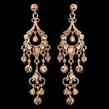 chandelier earrings chagne a touch of cl creations promise antique rose gold crystal