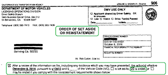 California Dmv Order Of Set Aside Or Reinstatementcalifornia Dmv
