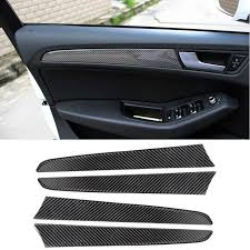 car carbon fiber door panel decal cover trim 4pcs for audi q5 interior accessories decoration strip