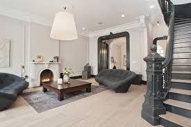 living room with charcoal sofa
