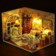 diy display house with light wooden dollhouse miniature princess bedroom new