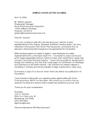 Email Cover Letter Template Of Email Cover Letter Sample 6