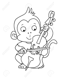 Cute Boy Monkey With Cello Coloring Page Stock Photo Picture And