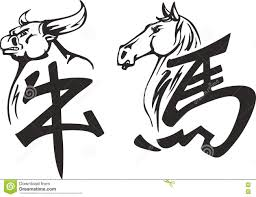 китайские иероглифы быка и лошади иллюстрация вектора иллюстрации