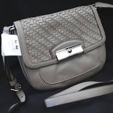 NWT COACH Mushroom Kristin Woven Leather Swingpack Crossbody Swing Bag Purse  NEW