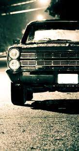 Old car on the road in the night - HD wallpaper