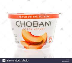 winneconne wi 2 march 2016 a conner of chobani greek yogurt in peach
