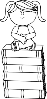 black and white sitting on books clip art black and white sitting on