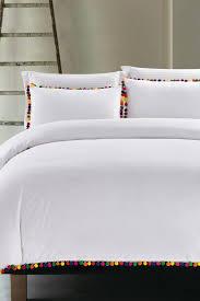 image of nmk boho pom pom duvet cover set white