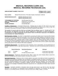 Medical Records Clerk Job Description For Resume Medical Records Clerk Resume Example Job And Resume Template 5