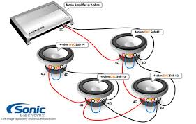 subwoofer wiring diagrams sonic electronix four dual 4 ohm subs 2 ohm mono see diagram
