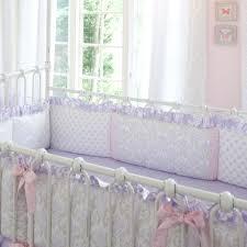 lilac and silver gray damask baby crib bedding