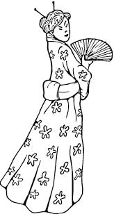 Chineze Vrouw In Een Traditionele Jurk Kleurplaat Gratis