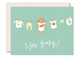 Congratulations For A Baby Boy Baby On Clothesline Boy Baby Card