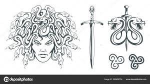 горгоны чудовище женским лицом змей вместо волос меч голова медузы