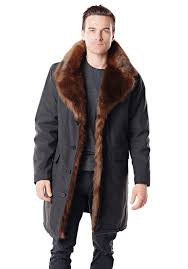 men s faux fur trimmed knee length coat