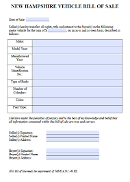 how to make bill of sale free new hampshire car vehicle bill of sale form pdf