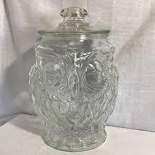 vintage libbey big top clear glass owl cookie jar